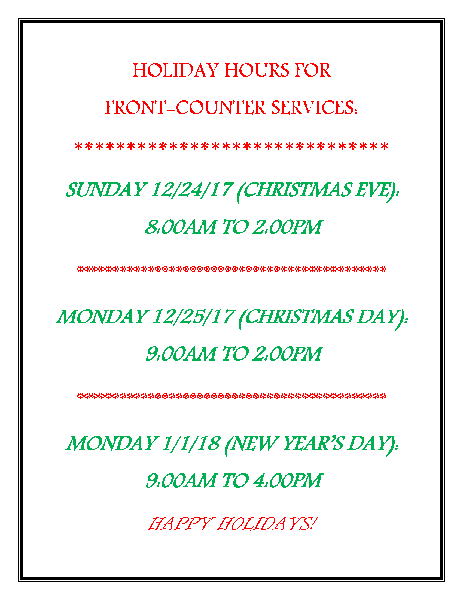 Front Counter 2017 Holiday Hours