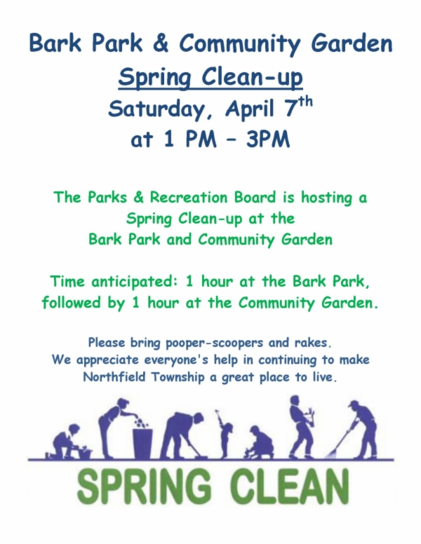 Flyer   Bark Park and garden clean up